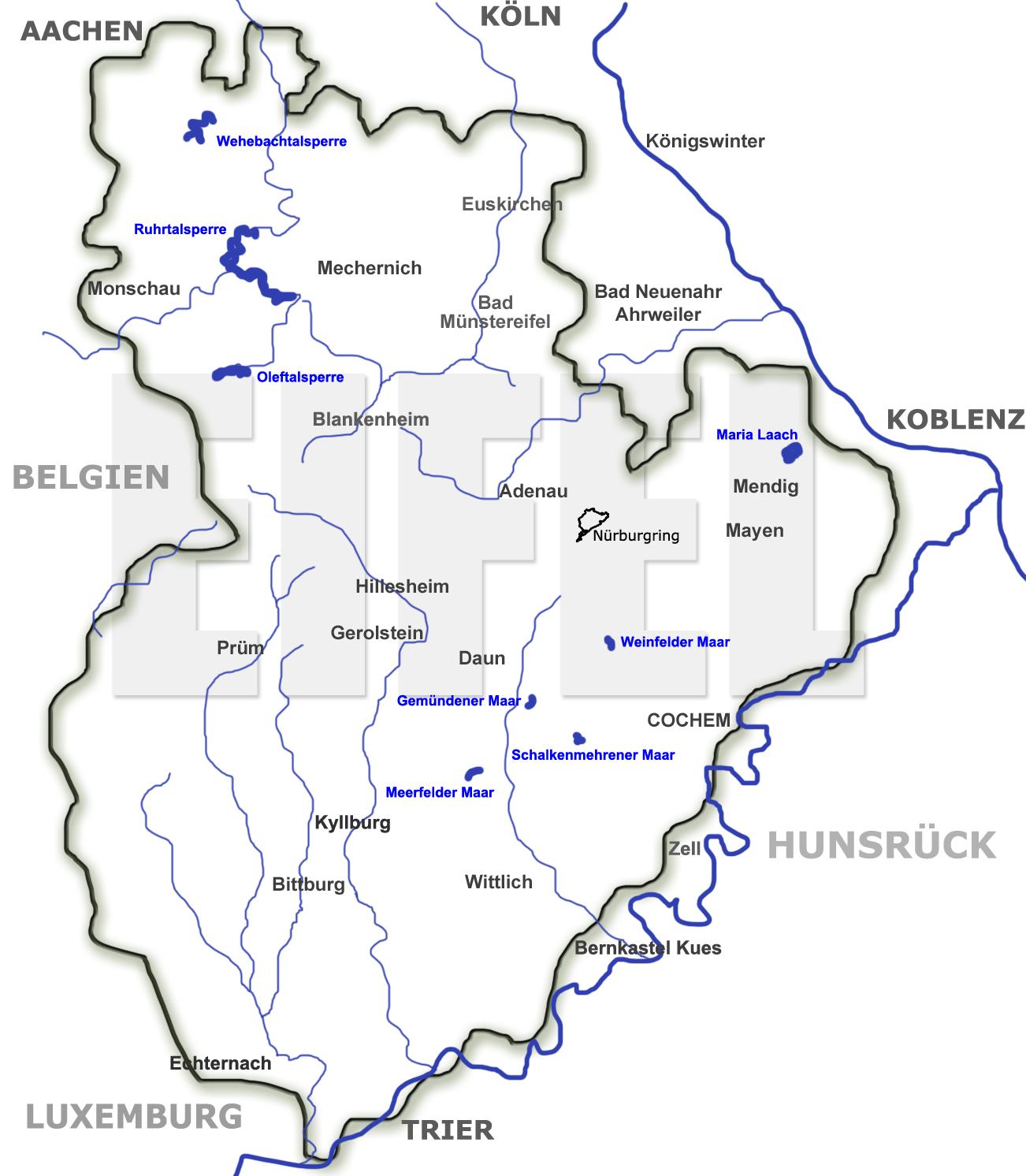 Karte Eifel.Landkarte Der Eifel