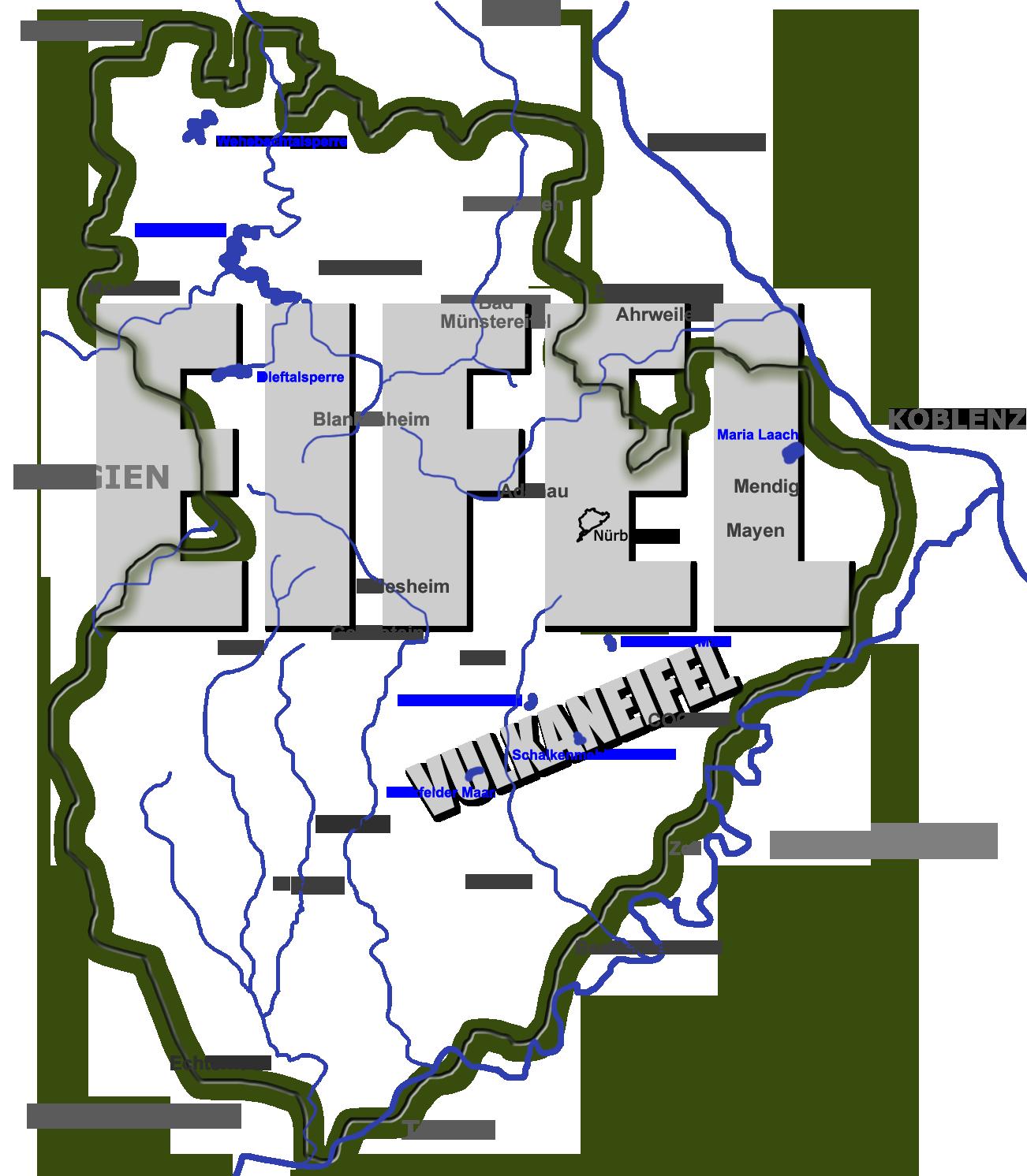 Nationalpark Eifel Karte.Landkarte Der Eifel